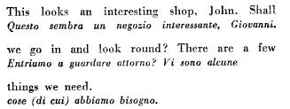 Un esempio di traduzione interlineata ossia sotto la riga del testo inglese c'è una riga di testo tradotto in italiano
